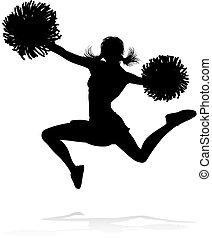 Detailed silhouette cheerleader holding pompoms