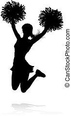 cheerleader, poms, silhouette, pom