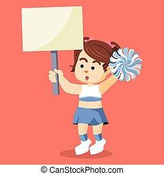 cheerleader, segurando, sinal, coloridos
