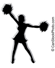 Cheerleader Silhouette - Black and white illustration of a...