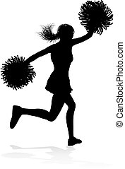 cheerleader, silhouette