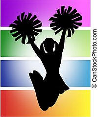 Cheerleader - Silhouette of a cheerleader jumping in the air...