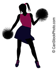 Cheerleader silhouette on a white background - Female...