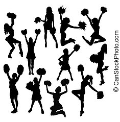 cheerleader, silhouettes, activiteit