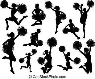 cheerleader, silhouettes