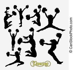 cheerleader, sportende, silhouette