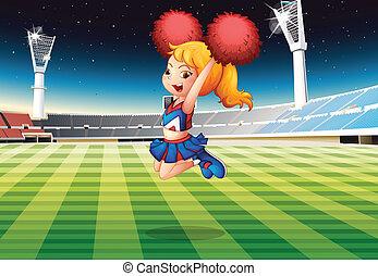 cheerleader, stadion, taniec