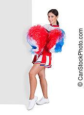 Cheerleader Standing Near Blank Placard - Cheerleader With...