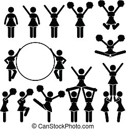 Cheerleader Supporter Team School - A set of pictograms...