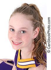 Cheerleader - Teen girl in cheerleader uniform. Shot with...