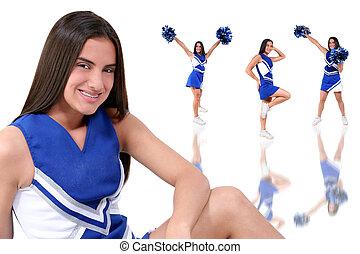 Cheerleader Teen - Three full body cheerleader poses with...