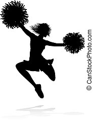 Cheerleader with Pom Poms Silhouette
