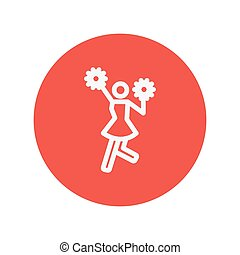 Cheerleader with pom thin line icon