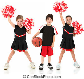 cheerleaders, basket-ball, groupe, enfants, joueur
