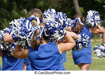 Cheerleaders Cheering - Teen Youth Cheerleaders cheering at...