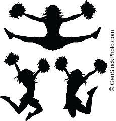 Cheerleaders - Illustration of a cheerleader jumping and...