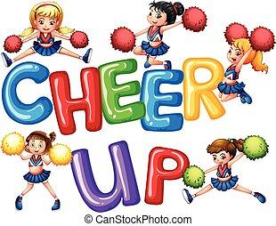 cheerleaders, et, mot, acclamation, haut