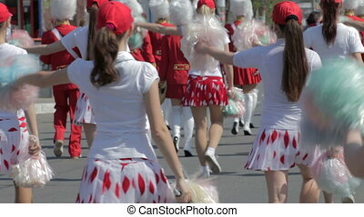 Cheerleaders during a festival parade
