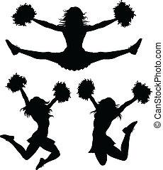 Cheerleaders - Illustration of a cheerleader jumping and...
