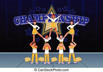 Cheerleaders in a cheerleading competition - A vector...