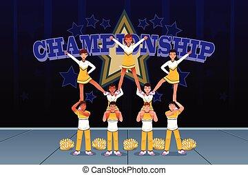cheerleaders, in, een, cheerleading, competitie
