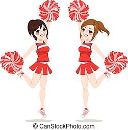 Cheerleaders Jumping Dancing