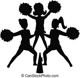 cheerleaders silhouette - cheerleaders in outline
