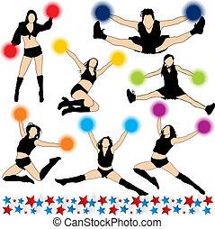 cheerleaders, silhouettes, vecteur, ensemble