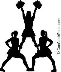cheerleading, piramide, silhouette