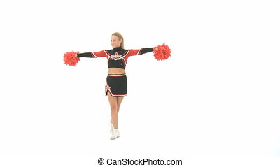 Cheerleading poses - Cheerleader shows different poses