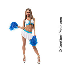 Cheerleading. Sexy brunette posing with pom poms