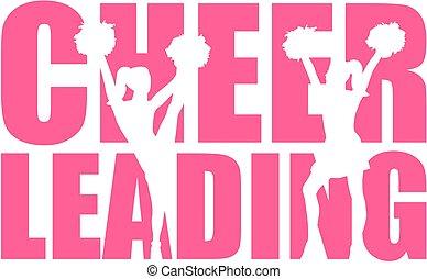 cheerleading, wort, mit, freisteller