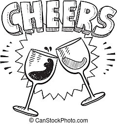 Cheers celebration sketch - Doodle style Cheers celebration...
