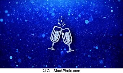 Cheers Celebration Toast Two Glasses Champagne Icon Blinking...