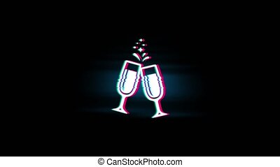Cheers Celebration Toast Two Glasses Champagne Symbol on...
