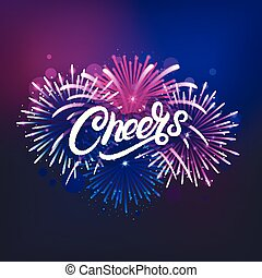 Cheers hand written lettering text