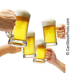 cheers - four hands holding beers making a toast