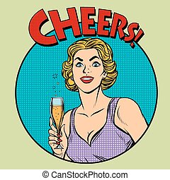 Cheers toast celebration woman pop art retro style. Greeting...