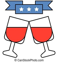 Cheers vector, United state independence day related icon