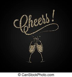 Cheers Vintage . Gold Champagne Background.