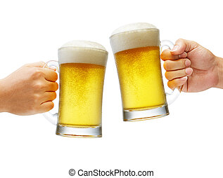 cheers with beers - two hands holding beers making a toast