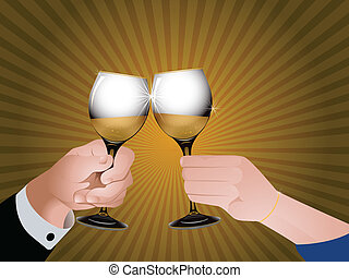 Cheers with champagne - Illustration of two glasses with...