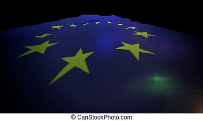 """""""Optimistic 3d rendering of a beautiful European Union banner with twelve five-angled golden stars in the blue field placed in a circle. It rises up cheerfully like a road. """""""