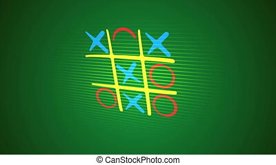 """""""Gorgeous 3d rendering of a noughts and crosses game with a yellow network, orange and blue marks and a victorious diagonal end with a long line in the green backdrop. It`s funny."""""""
