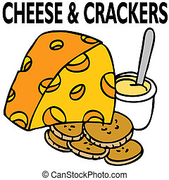 Cheese and Crackers - An image of cheese and crackers.