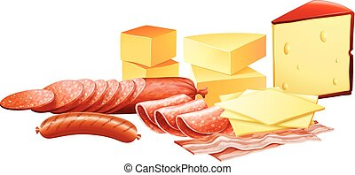 Cheese and different kinds of meat products