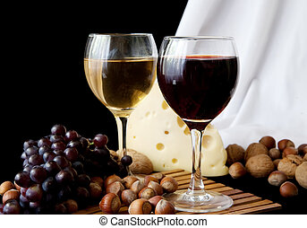 cheese and glass of red