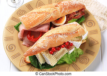 Cheese and ham sub sandwiches