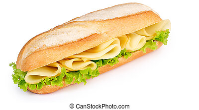 cheese and lettuce sub isolated on white background