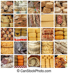 cheese and meat specialties on italian farmers market -...